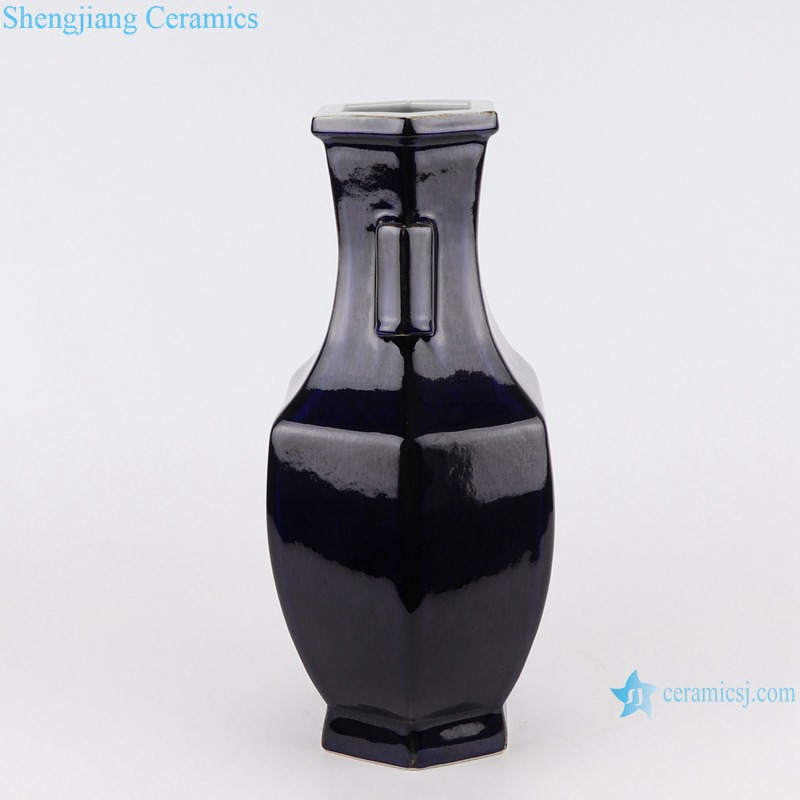 Color glaze black six-sided with two-ear shape porcelain vase