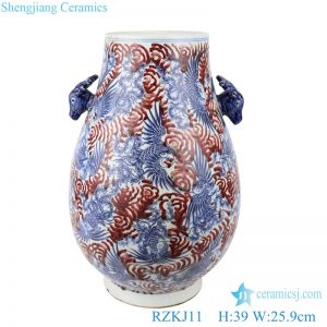 RZKJ11 Blue and white dragon pattern vases decoration with two ears