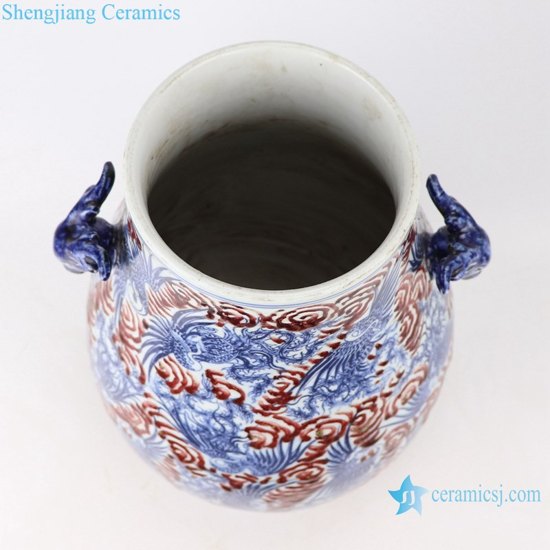 Blue and white dragon pattern vases decoration with two ears