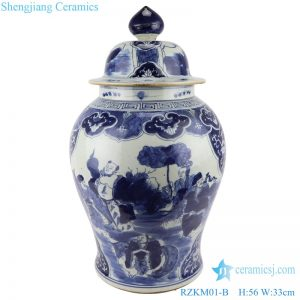 RZKM01-B Blue and white handmade general pot of figure design