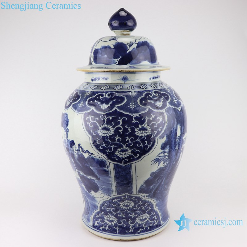 Blue and white handmade general pot of figure design
