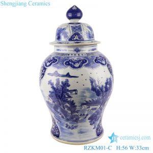 RZKM01-C Blue and white handmade general pot of landscape design
