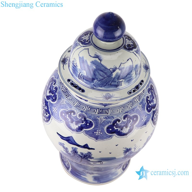 Blue and white handmade general pot of landscape design