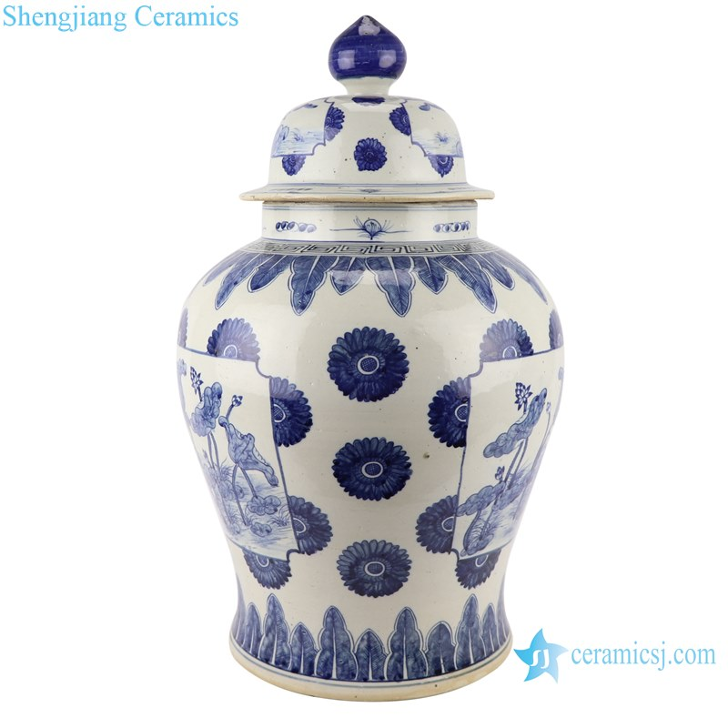 Blue and white handmade general pot of lotus design