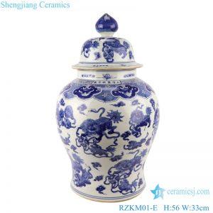 RZKM01-E Blue and white handmade general pot of dragon design