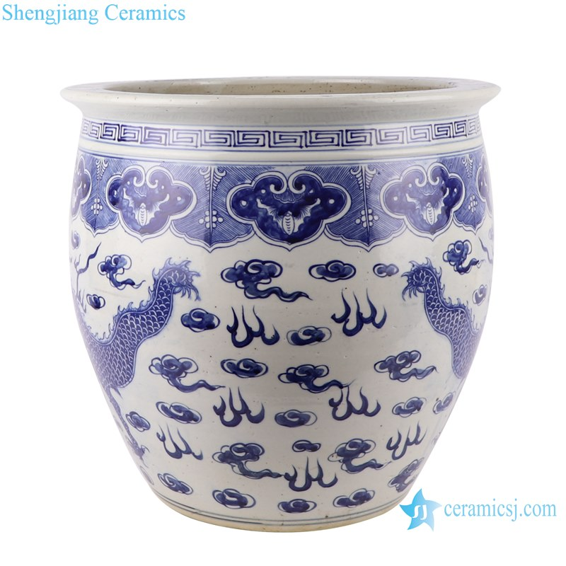 Blue and white handmade porcelain pot of dragon design