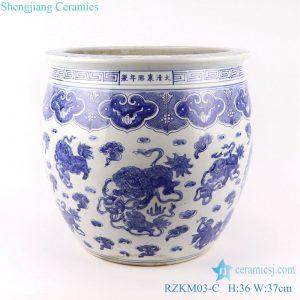 RZKM03-C Blue and white handmade porcelain pots of animals design