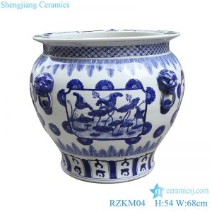 RZKM04 Blue and white handmade porcelain pots of lotus design with ears