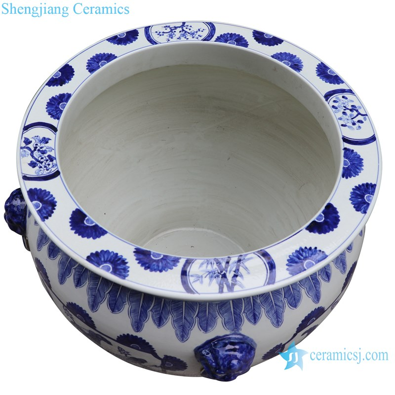Blue and white handmade porcelain pots of lotus design with ears