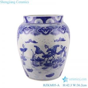 RZKM05-A Blue&white handmade porcelain pots of lotus design storage