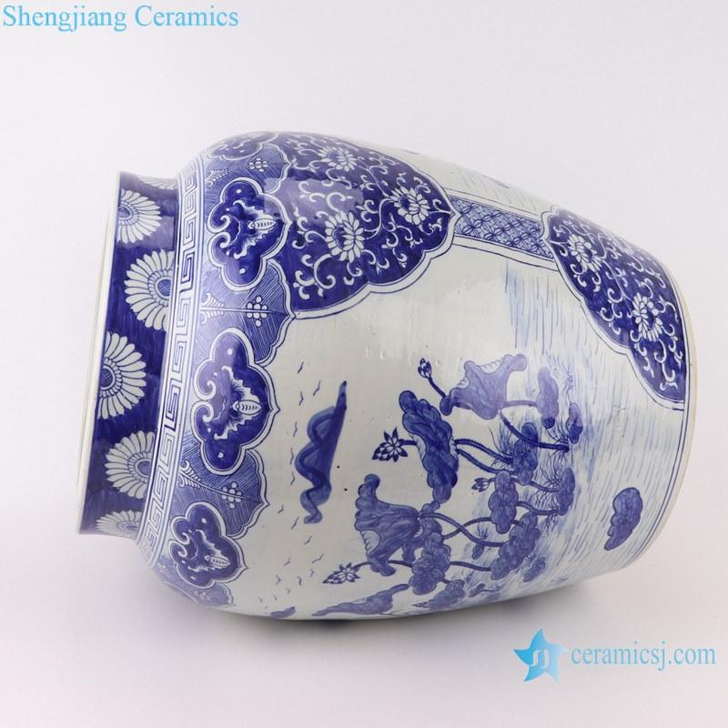 Blue&white handmade porcelain pots of lotus design storage