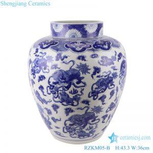 RZKM05-B Blue&white handmade porcelain pots of animals design storage pot