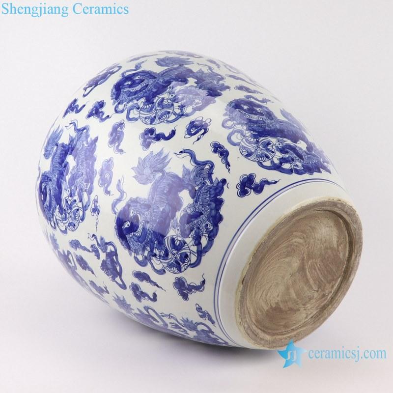 Blue&white handmade porcelain pots of animals design storage pot