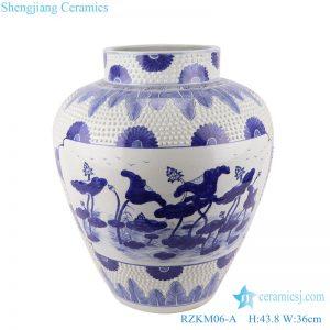 RZKM06-A Blue&white handmade porcelain pots of lotus design storage pot