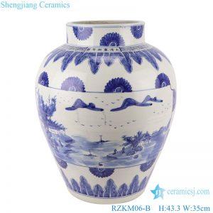 RZKM06-B Blue&white handmade porcelain pots of landscape design storage pot