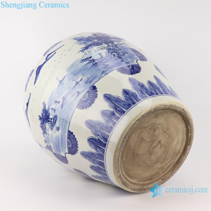 Blue&white handmade porcelain pots of landscape design storage pot
