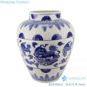 RZKM06-C Blue&white handmade porcelain pots of dragon design storage pot