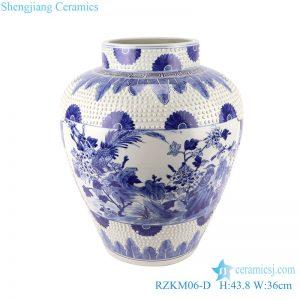 RZKM06-D Blue&white handmade porcelain flower&birds design storage pot