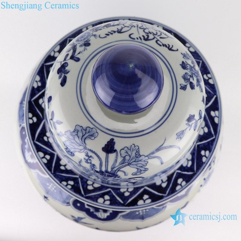 Blue&white porcelain flower&birds design ginger jar