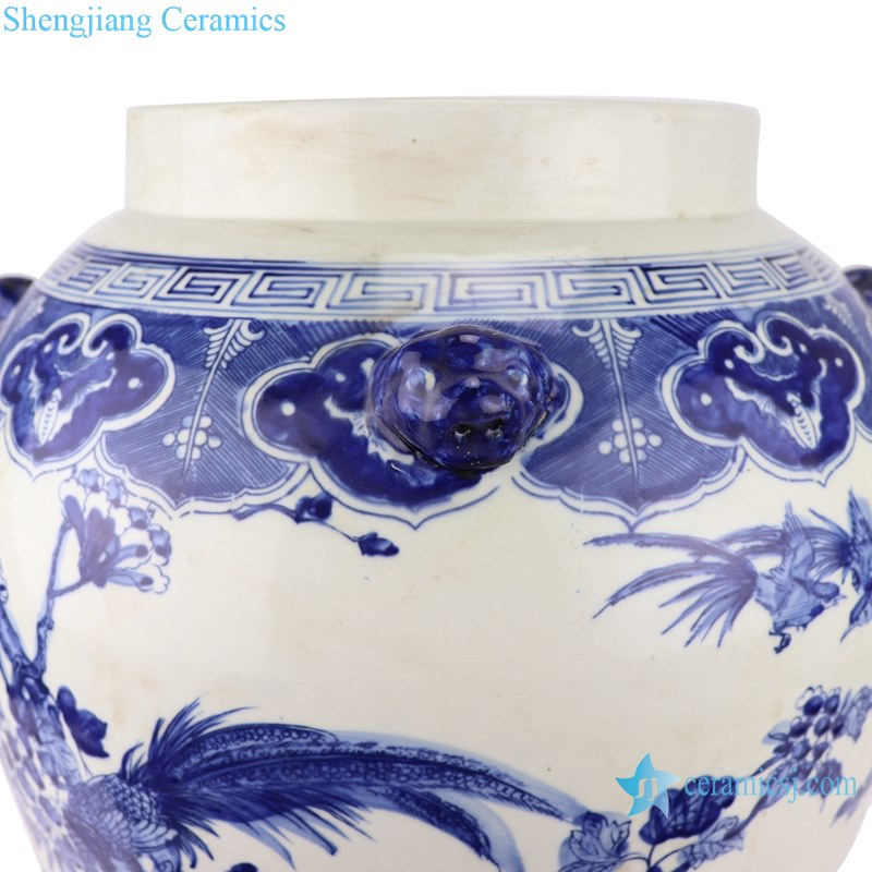 porcelain flower&birds design ginger jar with lion head around sides