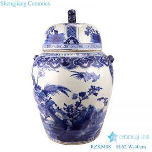 RZKM08 Blue&white porcelain flower&birds design ginger jar with lion head around sides