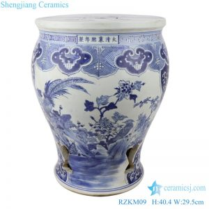 RZKM09 Blue&white porcelain flower&birds design garden stool chair