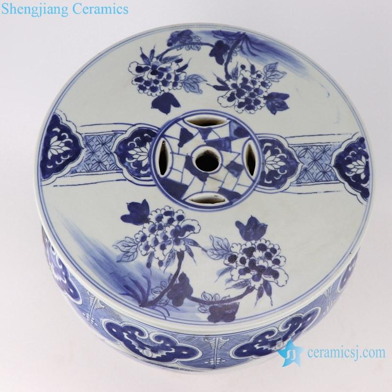 Blue&white porcelain flower&birds design garden stool chair