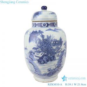 RZKM10-A Blue&white porcelain landscape design ginger jars