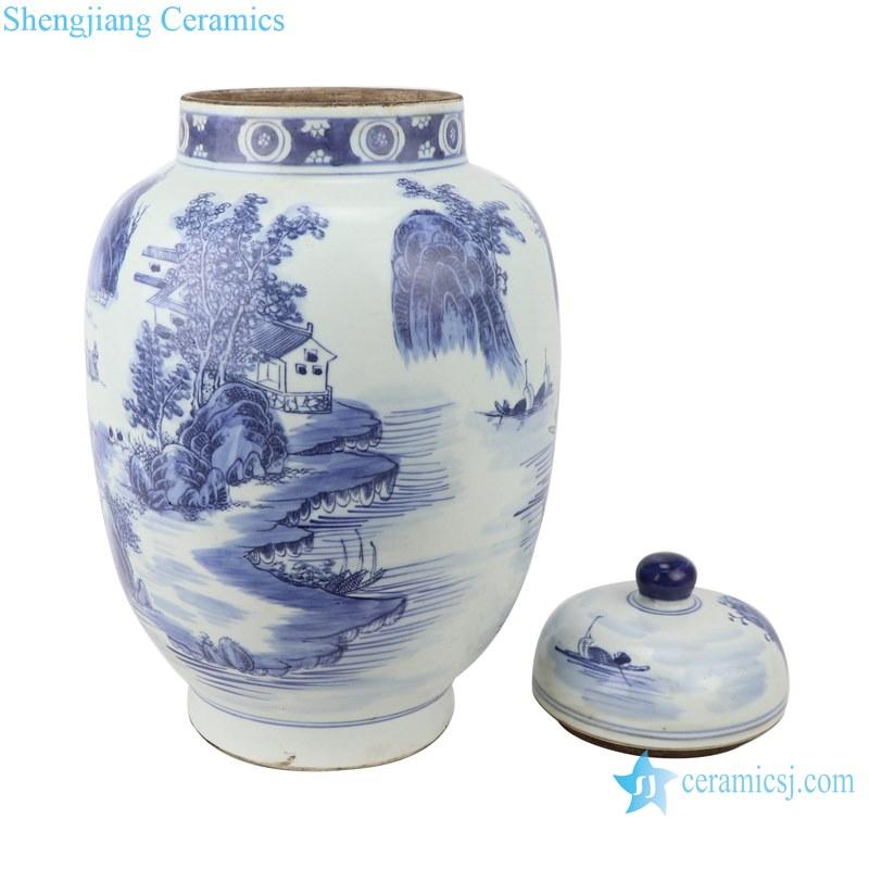 Blue&white porcelain landscape design ginger jars