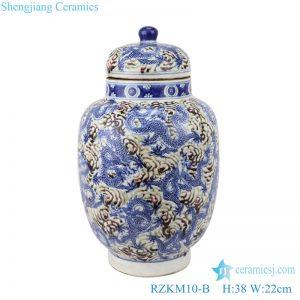 RZKM10-B Blue&white porcelain dragon design ginger jars