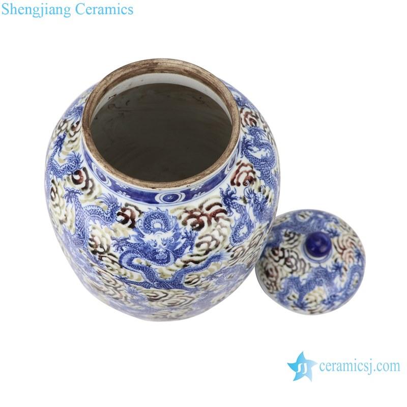 Blue&white porcelain dragon design ginger jars