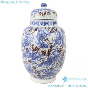 RZKM10-C Blue&white porcelain dragon design ginger jar