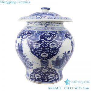RZKM11 Blue&white porcelain multi-figure design jar with lid