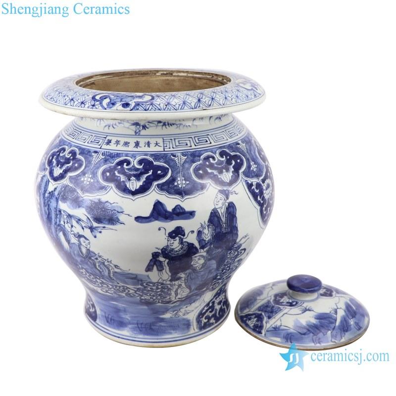 Blue&white porcelain multi-figure design jar with lid