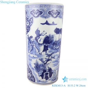 RZKM13-A Blue&white porcelain multi-figure design vases umbrella stand
