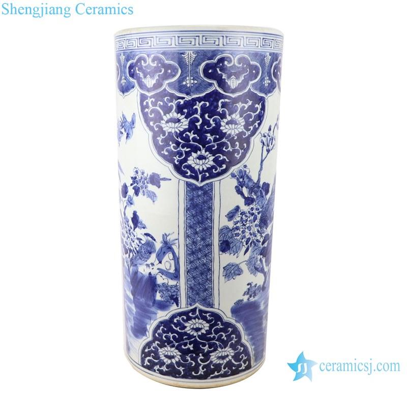 Blue&white porcelain flower and birds design vases umbrella stand