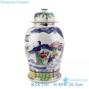 RZKT40 Jingdezhen Antique The character Playing Design Colorful Porcelain Storage Ginger Jars Pot