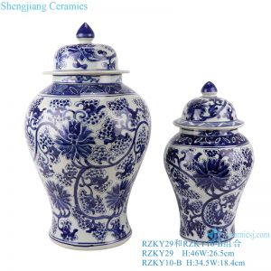 RZKY29 Ancient Blue and white winding flower Grapes hand paint general tank storage ginger jars