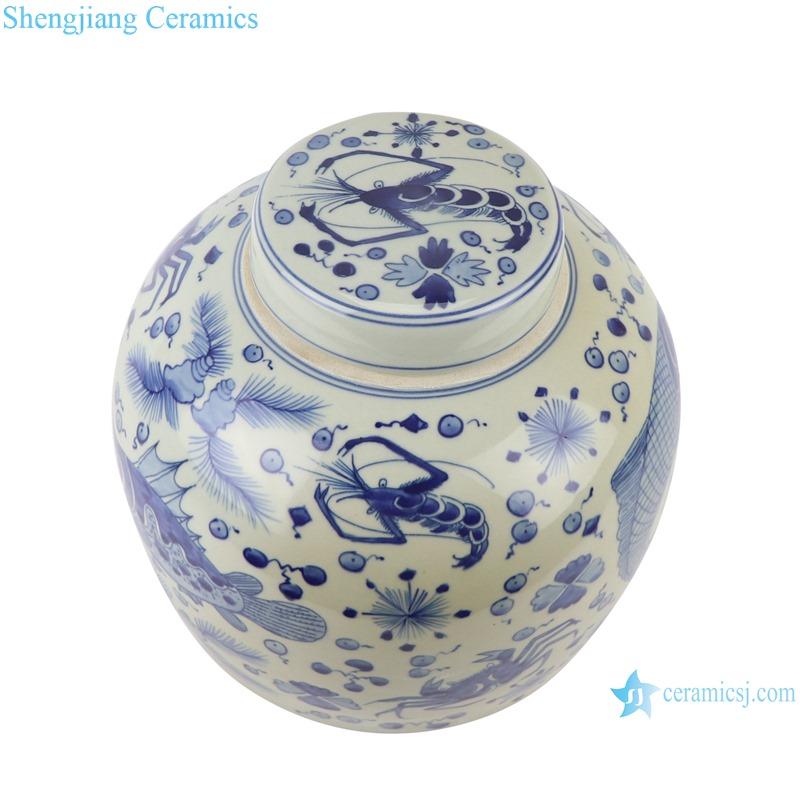 RZKY30 Blue and white porcelain Fish and algae shrimp design round storage jars Sealed Container