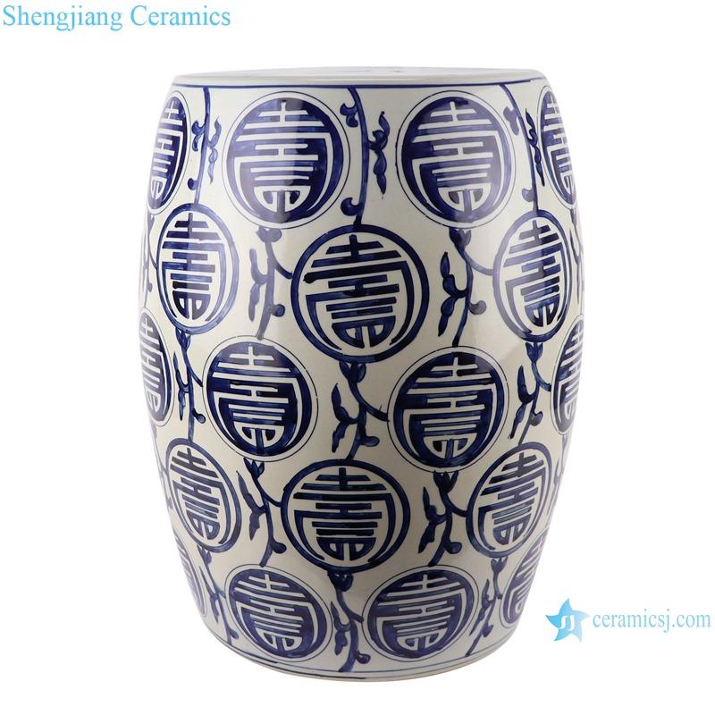 RZKY31 Antique Blue and White longevity Design Striped Ceramic Garden Stool Porcelain drum stool