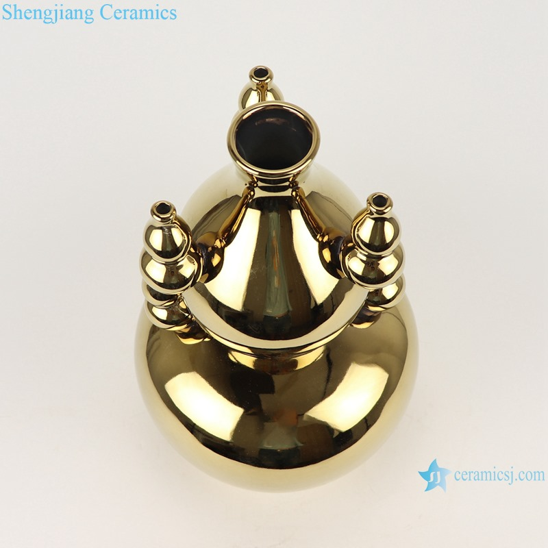 RZMS21-A-B Simple Gold plated white color gourd shape with 4 gourd design Ceramic vase