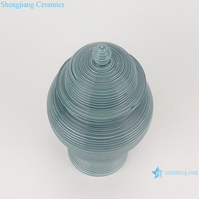 RZMS22-A Color Green Glazed Porcelain Striped Line Storage Container Ceramic Ginger Jars