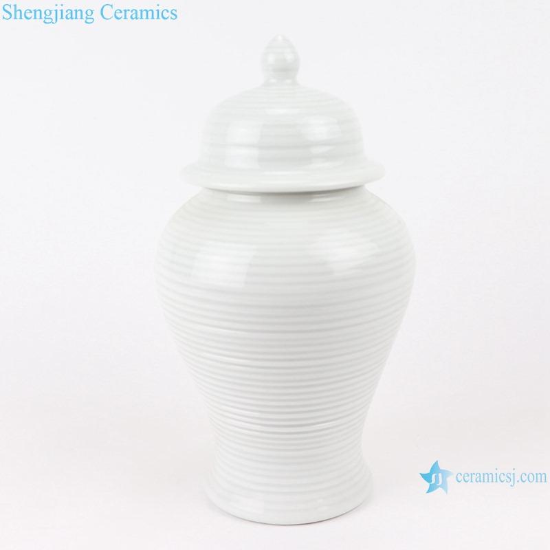 RZMS22-B White Glazed Porcelain Line Ceramic Storage Ginger Jars