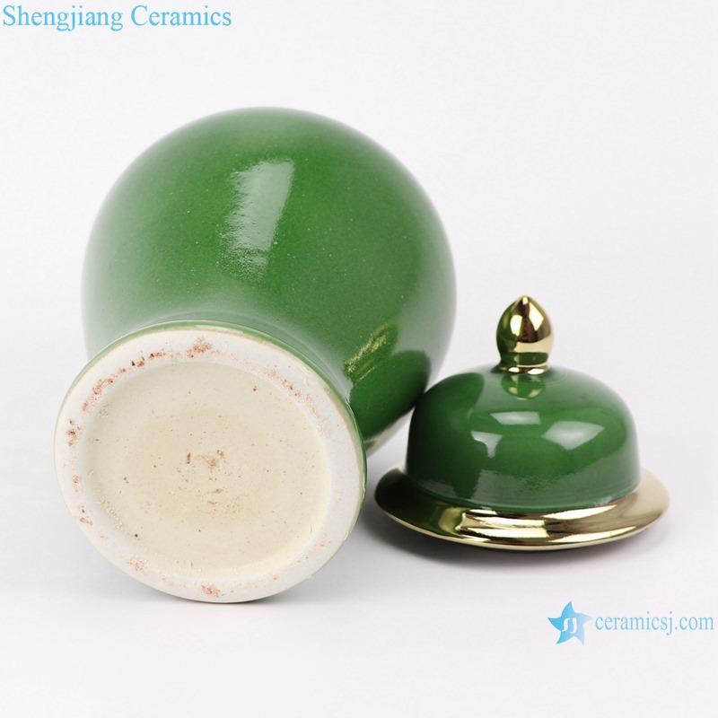 RZMS22-C Classic Crystal Green Glazed Gold Trim Ceramic Storage Gingers jars