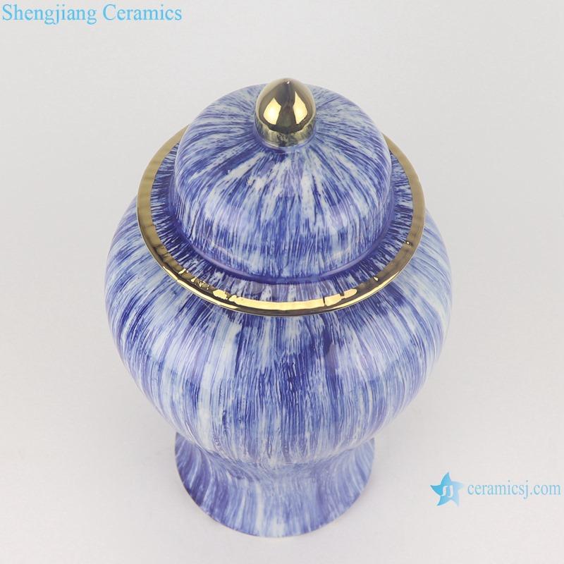 RZMS23 Fambe Blue Gold Plated Porcelain Kiln Storage Jars General Tank Pot