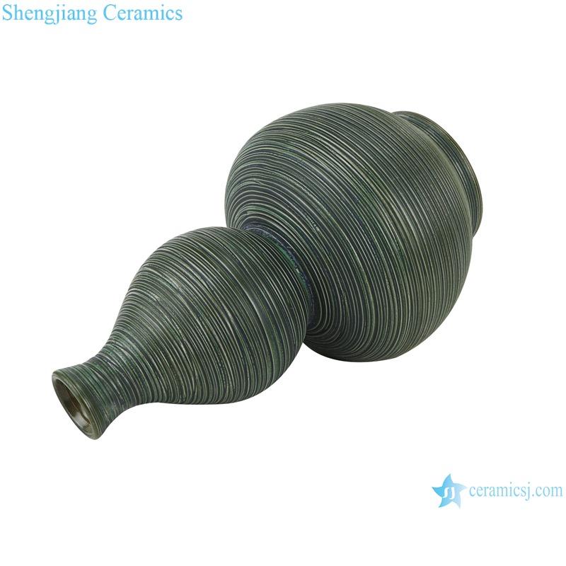 RZMS25 Kiln Green Striped Gourd Bottle Porcelain Vase