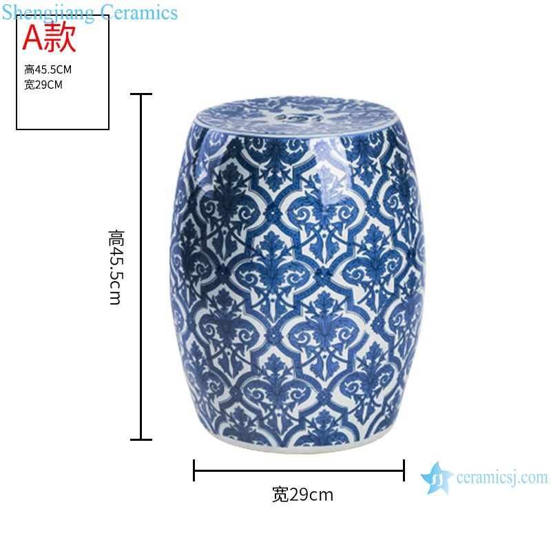 RZMV43 Blue and White Porcelain Flower Pattern Ceramic Drum Stool