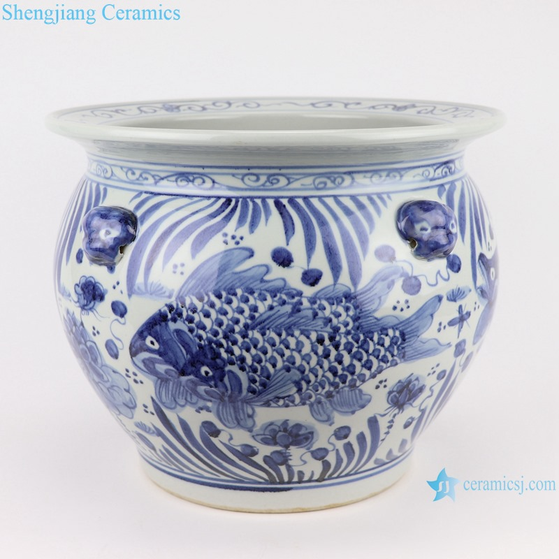 RZSD03 Blue and white Fish Pattern with lion head ceramic planter pots