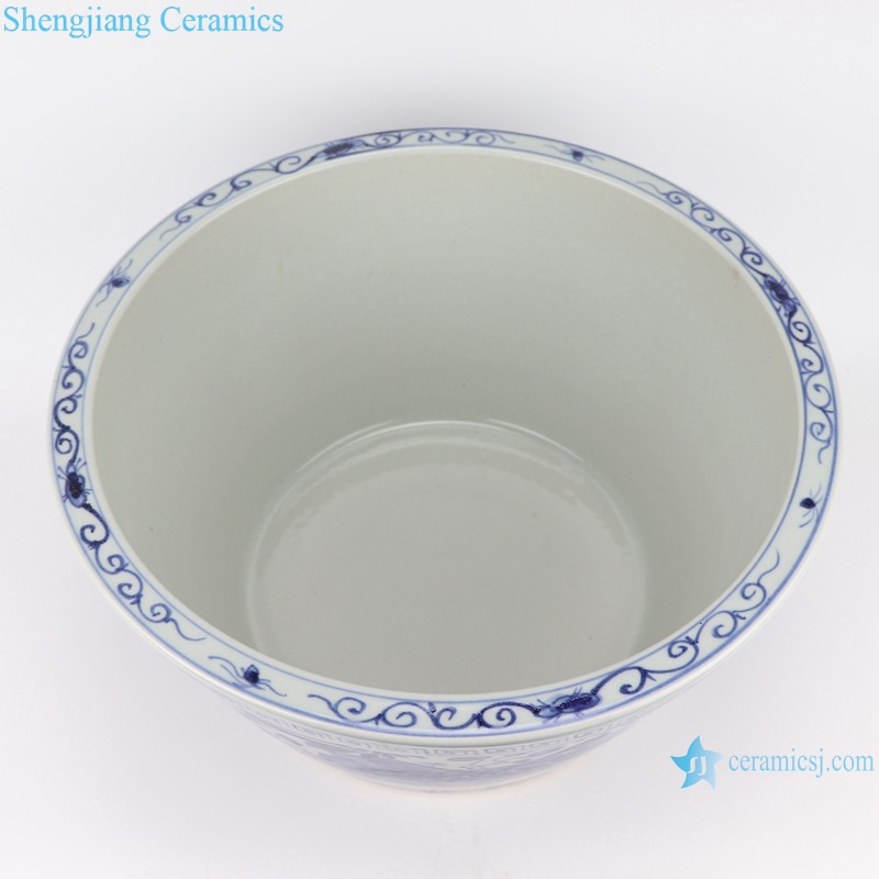 RZSD04 Blue and white Fish Algae Pattern ceramic planter flower pots