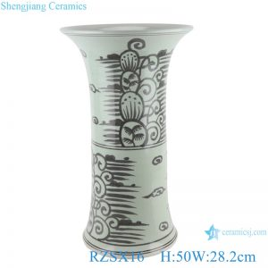 RZSX16 Grisaille Hand painting Porcelain Black Coconut Tree Sea Grass wide Mouth Vase